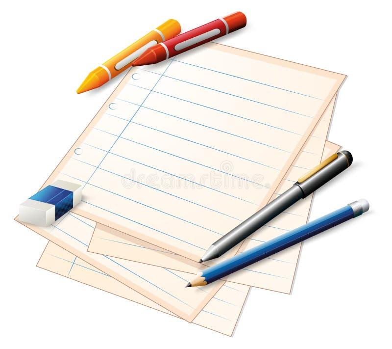 Een document met kleurpotloden en potloden vector illustratie