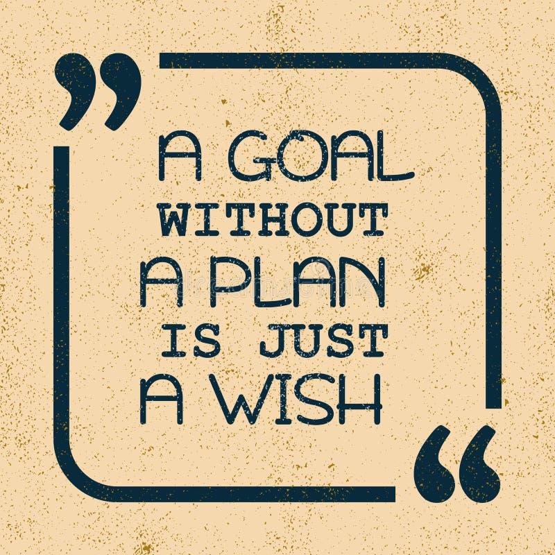 Een doel zonder een plan is enkel een wens Inspirational motievencitaat stock afbeelding