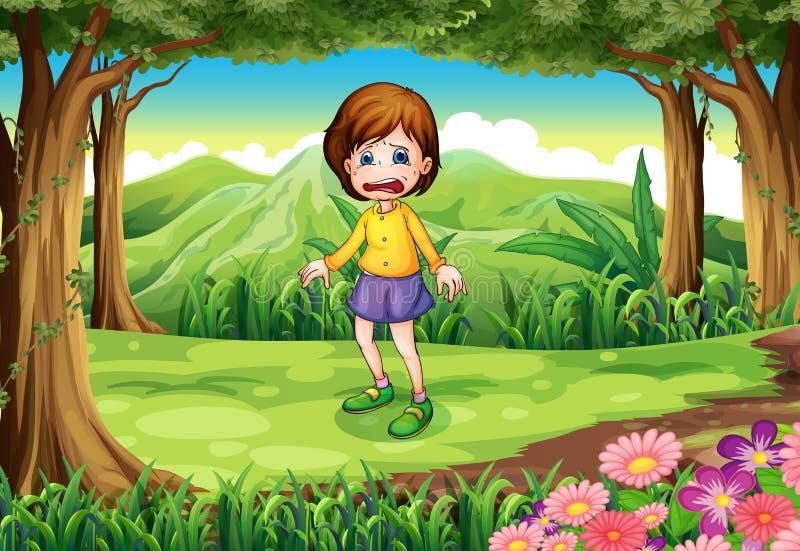 Een doen schrikken jong meisje bij het bos vector illustratie