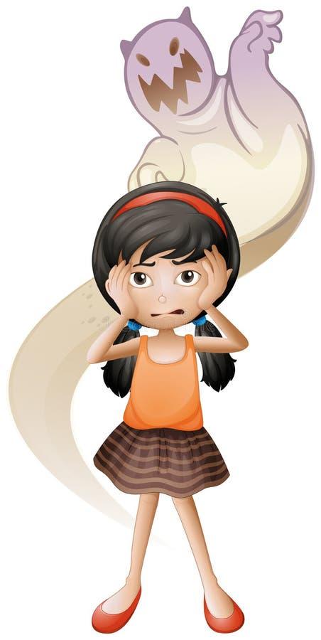 Een doen schrikken kind met een terug spook bij haar stock illustratie