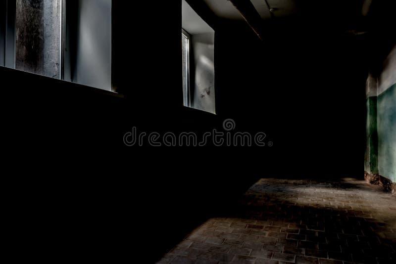 Een donkere gang met twee rechthoekige vensters, schemerig daglicht verlicht een deel van de muur en de vloeroppervlakte met een  stock foto