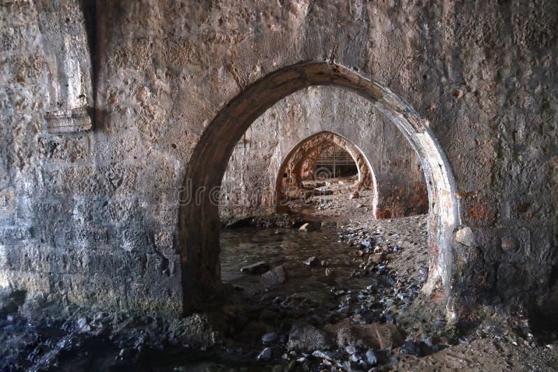 Een donkere kerker van een oud kasteel royalty-vrije stock afbeelding