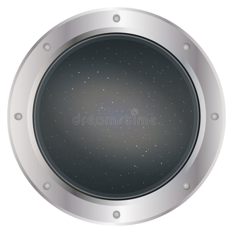 Een donkere zilveren patrijspoort van het ruimteschipvenster met ruimte, donkere grijze hemel, en sterrenvector Vector illustrati stock fotografie