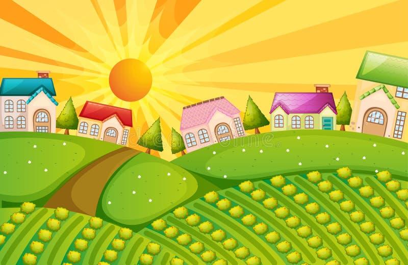 Een dorp met landbouwbedrijf vector illustratie
