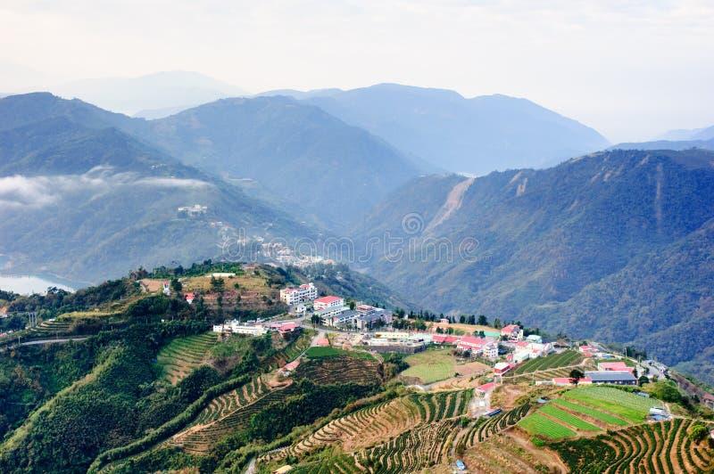 Een dorp op beroemde berg in Taiwan royalty-vrije stock foto