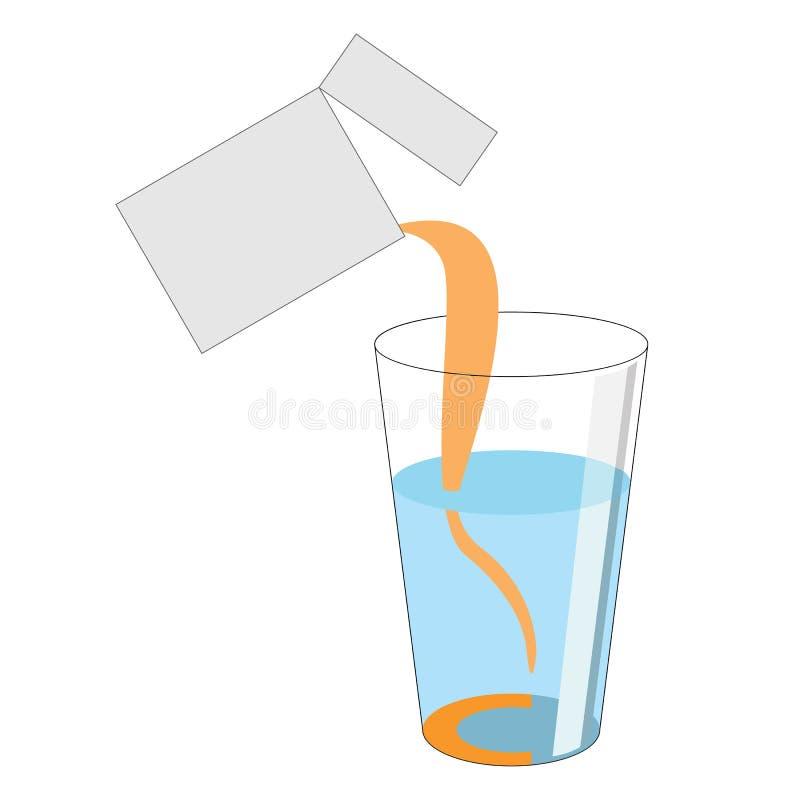 Een dosis poeder met vitamine C wordt gegoten uit het pakket int. stock illustratie
