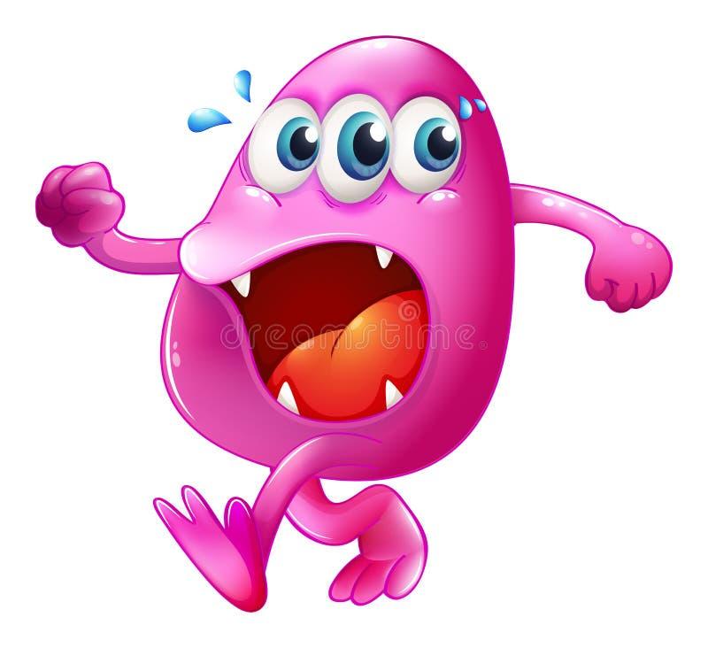 Een drie-eyed roze beaniemonster die proberen te ontsnappen vector illustratie