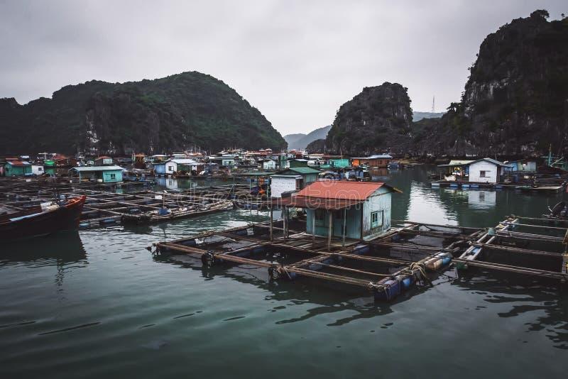 een drijvend vissers\ 's dorp in Ha snakt baai, noordelijk Vietnam stock foto