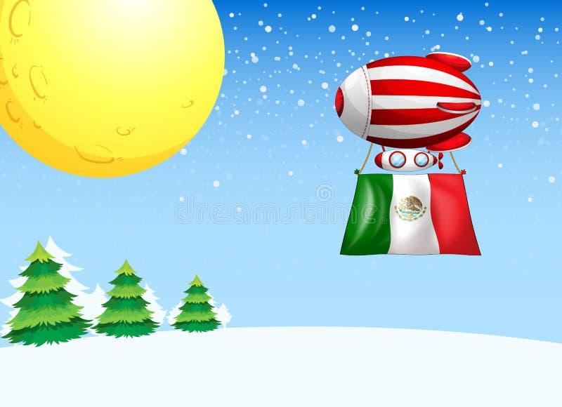 Een drijvende ballon die met de vlag van Mexico vliegen royalty-vrije illustratie