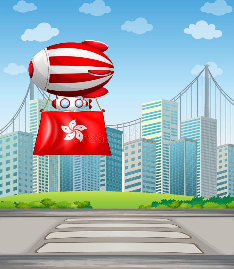 Een drijvende ballon met de vlag van China vector illustratie