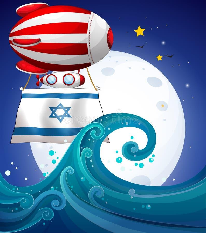 Een drijvende ballon met de vlag van Israël royalty-vrije illustratie