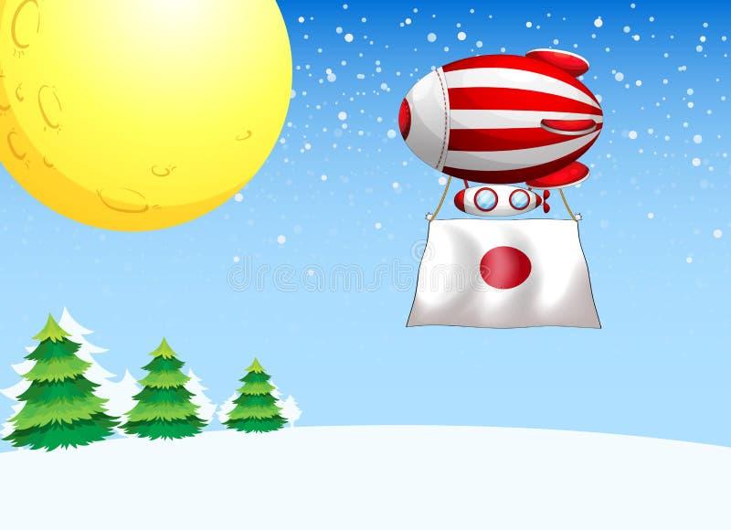 Een drijvende ballon met de vlag van Japan stock illustratie