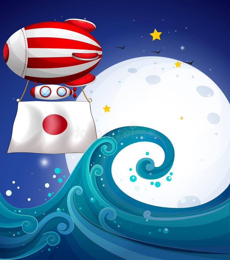 Een drijvende ballon met de vlag van Japan royalty-vrije illustratie