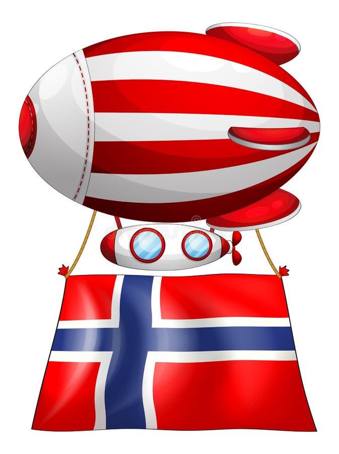 Een drijvende ballon met de vlag van Noorwegen vector illustratie