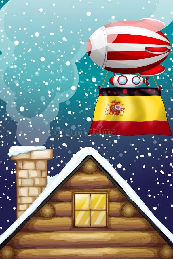 Een drijvende ballon met de vlag van Spanje royalty-vrije illustratie