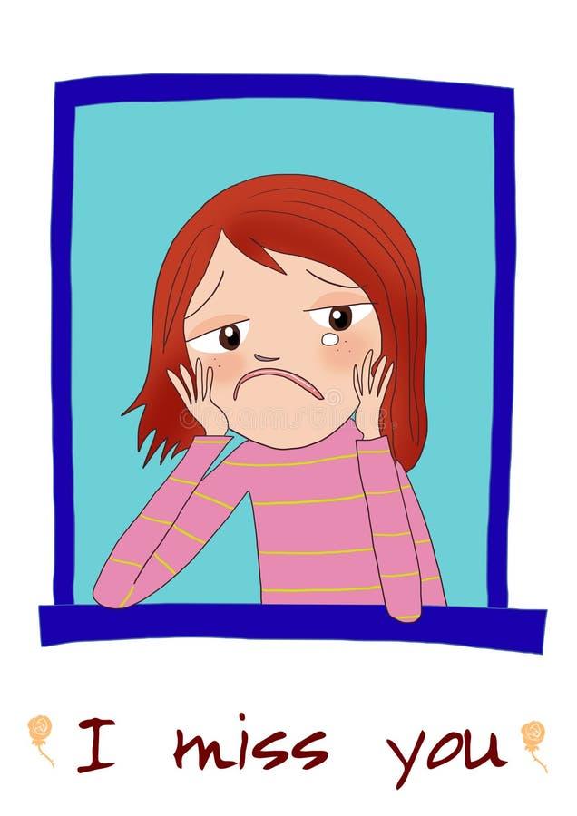 Een droevig beeldverhaalmeisje stock illustratie