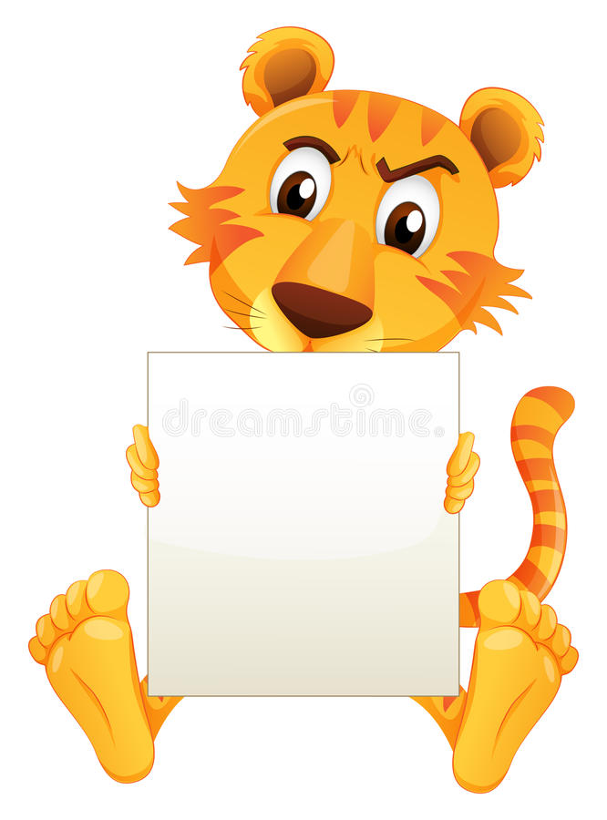 Een droevige tijgerzitting die een leeg karton houden stock illustratie