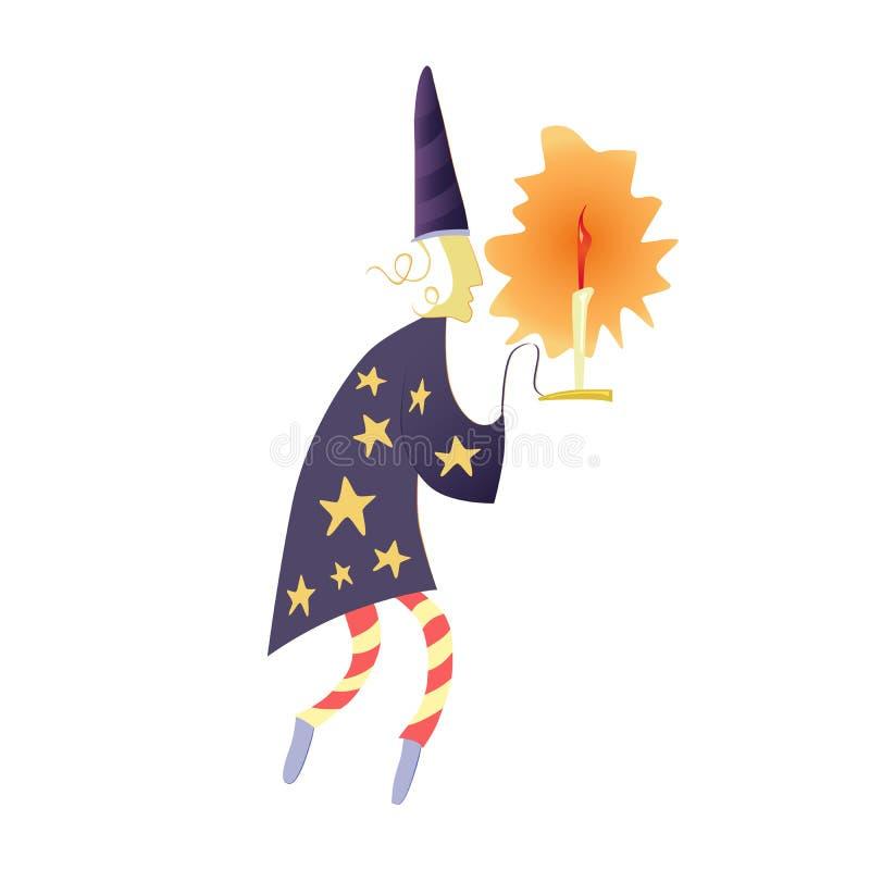 Een dromer of een tovenaar met een kandelaar in een kap en een robe met sterren vector illustratie