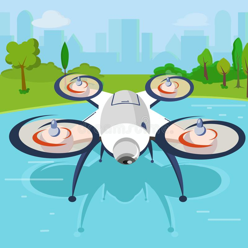 Een drone met een camera vector illustratie