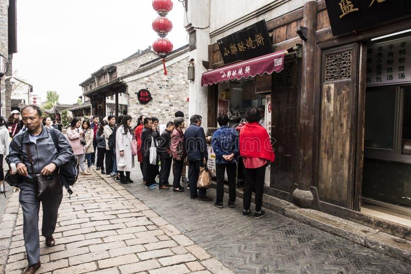 Een drukke brunchwinkel in Nanjing royalty-vrije stock afbeelding