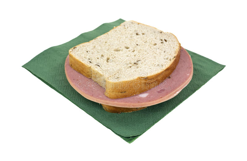 De sandwich van het de roggebrood van de mortadella op servet royalty-vrije stock foto's