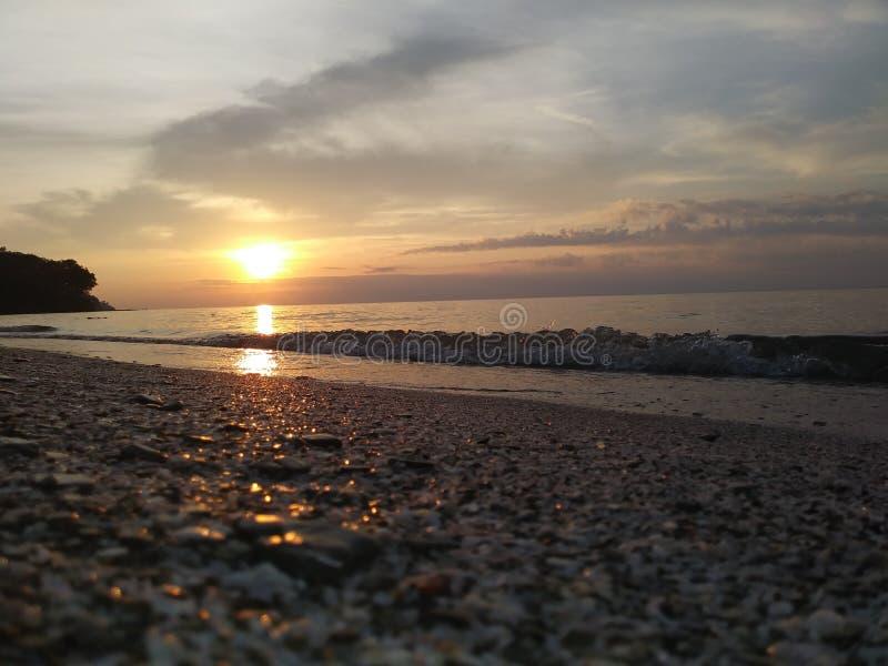 Een Edgewater-Zonsondergang stock foto