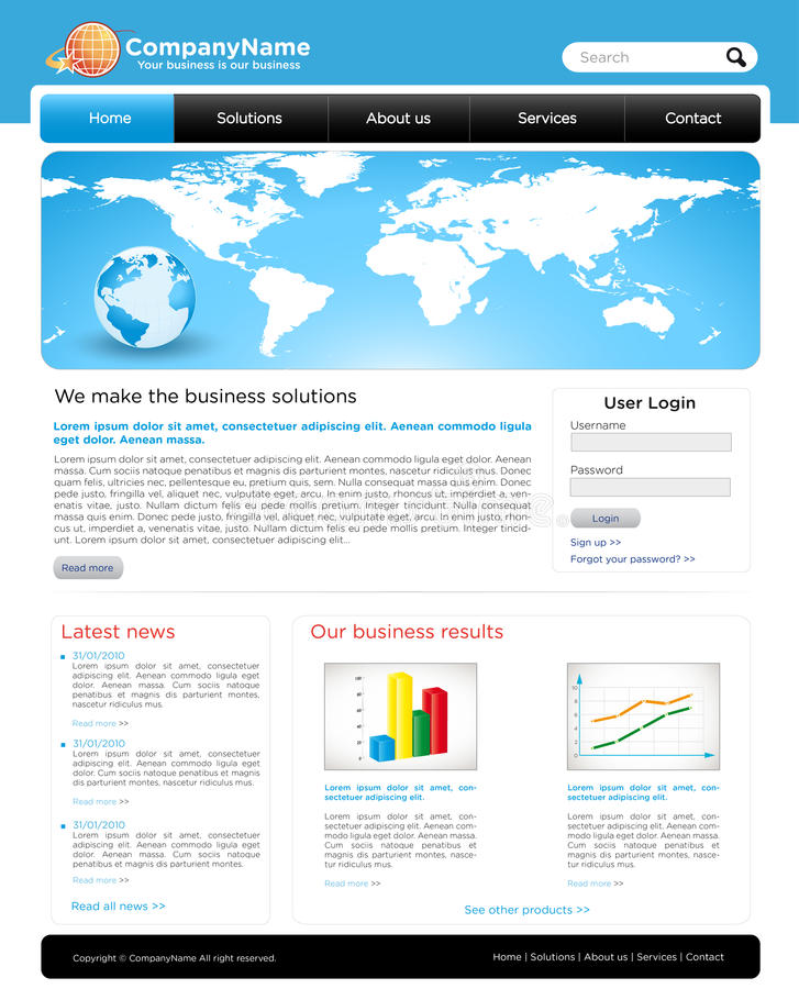Een editable bedrijfswebsitemalplaatje royalty-vrije illustratie