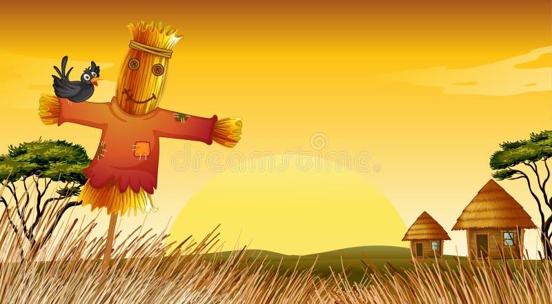 Een een mensenstandbeeld en landbouwbedrijf royalty-vrije illustratie