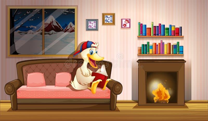 Een eend die een boek naast een open haard lezen royalty-vrije illustratie