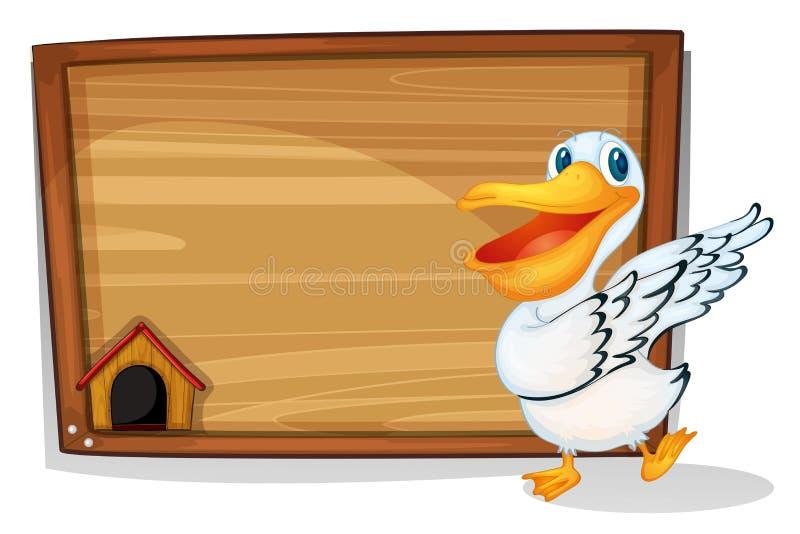 Een eend die naast een houten lege raad dansen royalty-vrije illustratie