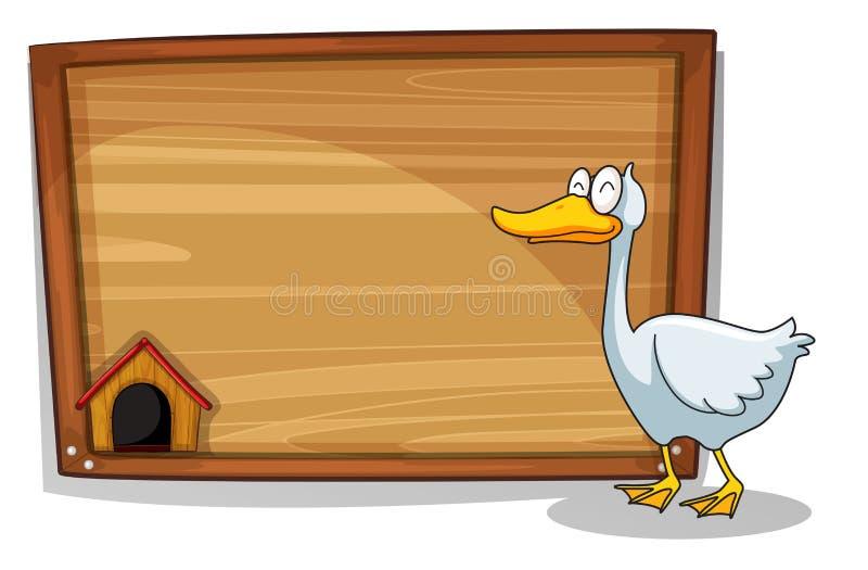 Een eend naast een houten raad stock illustratie