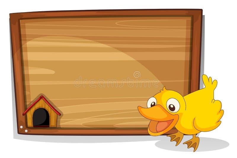 Een eend naast een lege houten raad royalty-vrije illustratie