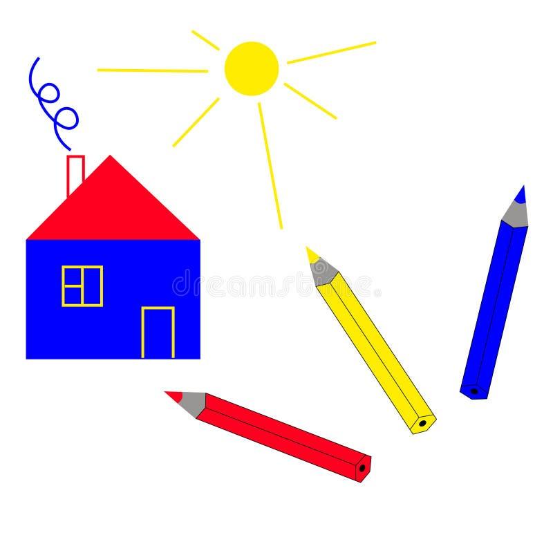 Een eenvoudig huis en drie kleurpotloden royalty-vrije illustratie