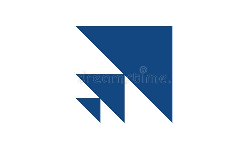 Een eenvoudig pijlpuntembleem in blauwe kleur stock illustratie