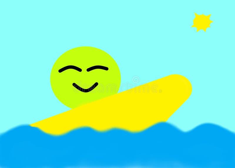 Een eenvoudige gelukkige groene het glimlachen pictogramvergelijking die een gele brandingsraad op een zonnige blauwe duidelijke  vector illustratie