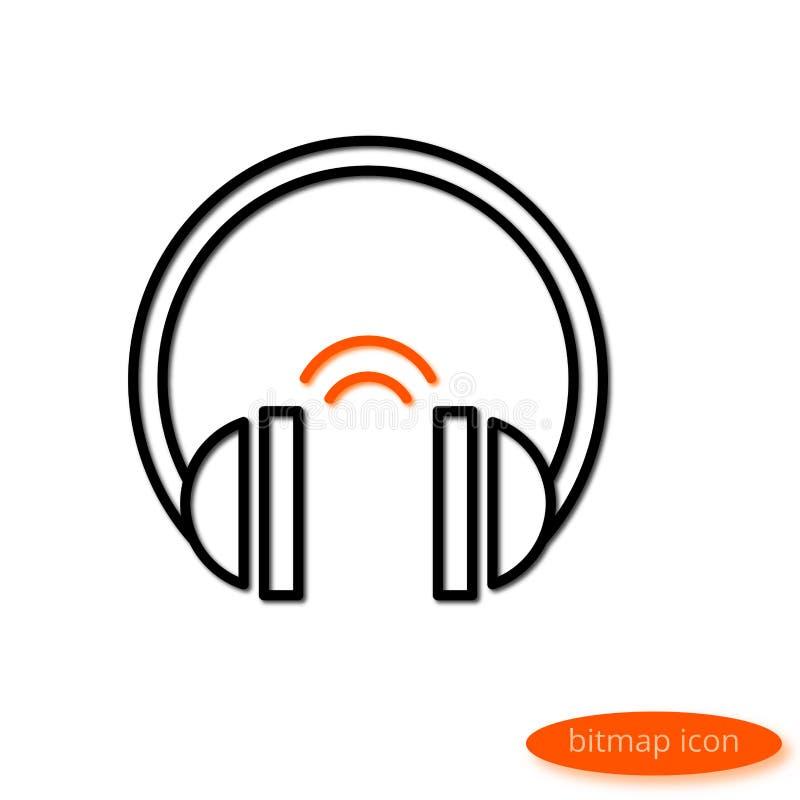 Een eenvoudige illustratie van een tekenings audiohoofdtelefoons van de schaduw gietende lijn met oranje geluid, een vlak lijnpic stock illustratie