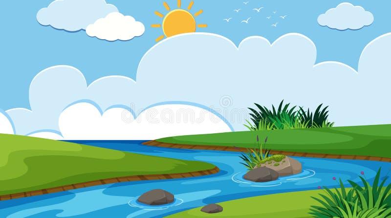 Een eenvoudige riviersc?ne vector illustratie