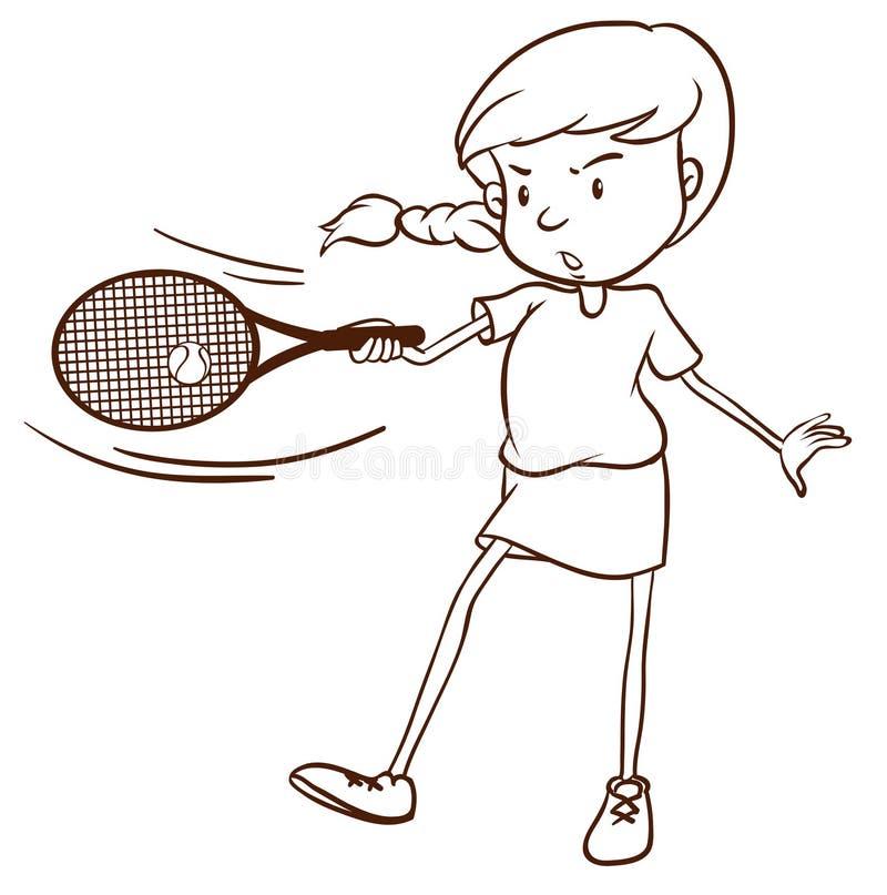 Een eenvoudige schets van een vrouwelijke tennisspeler stock illustratie
