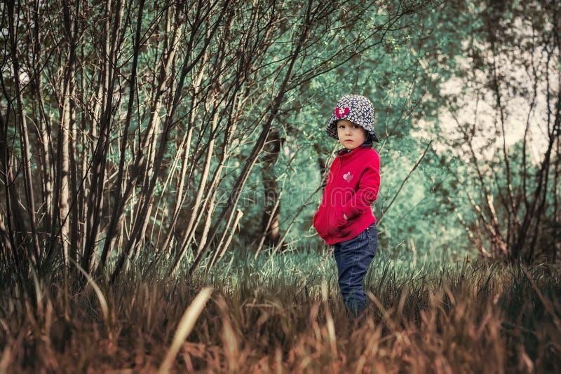 Een eenzaam ernstig kind in een magisch bos stock foto's
