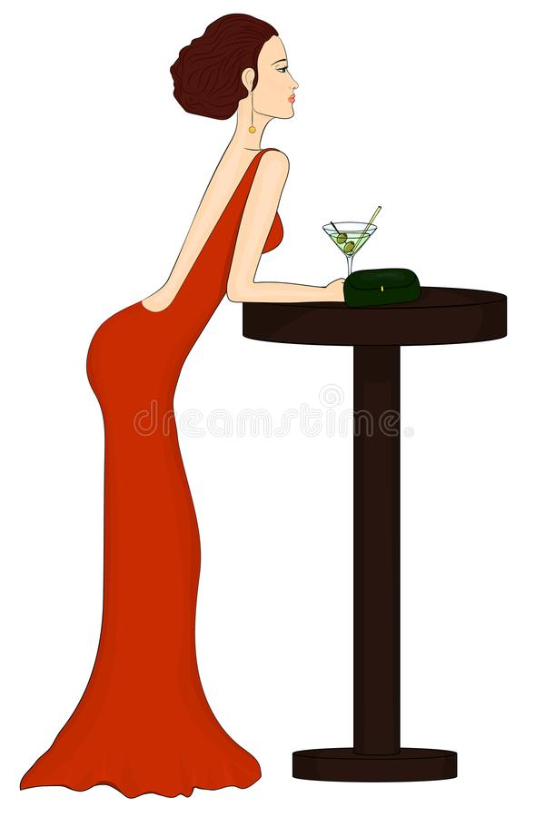 Een eenzame meisjesdranken bij een bar Mooie vrouw in een rode kleding royalty-vrije illustratie