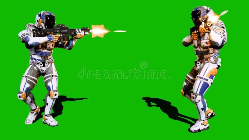 Een eenzame militair van de toekomst valt de vijand op de achtergrond van het groene scherm aan het 3d teruggeven royalty-vrije stock afbeeldingen