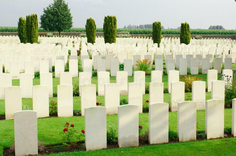 Een Eerste Wereldoorlogbegraafplaats in België Vlaanderen royalty-vrije stock foto