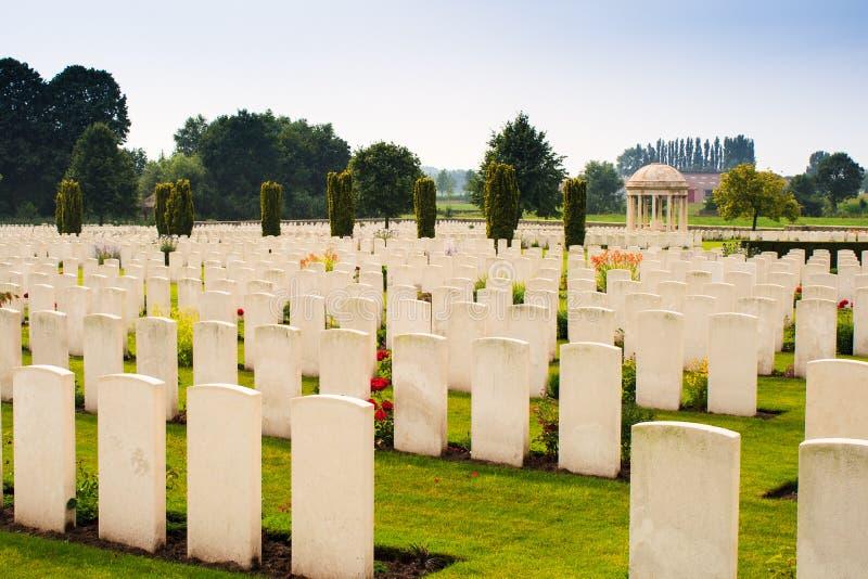 Een Eerste Wereldoorlogbegraafplaats in België Vlaanderen royalty-vrije stock afbeeldingen