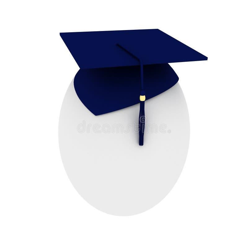 Een ei met blauwe graduatiehoed stock illustratie