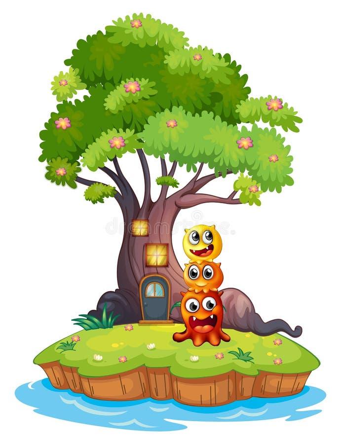 Een eiland met drie monsters onder de reuzeboom stock illustratie