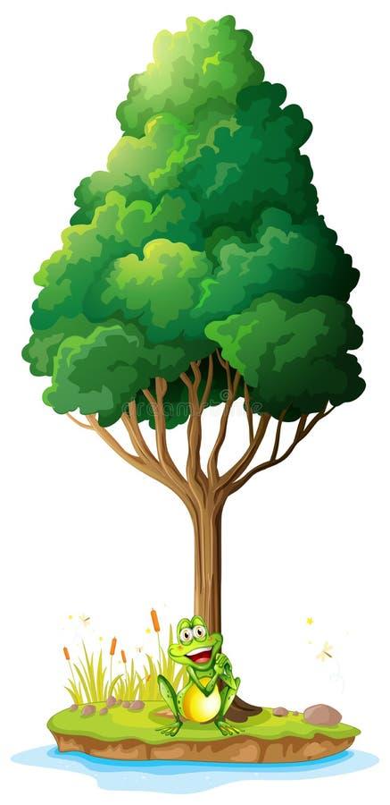 Een eiland met een kikker onder de boom stock illustratie