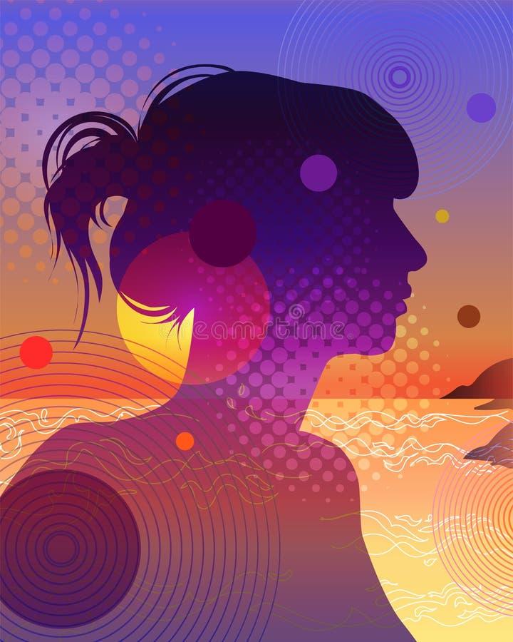 Een elegant silhouet van een jonge vrouw vector illustratie