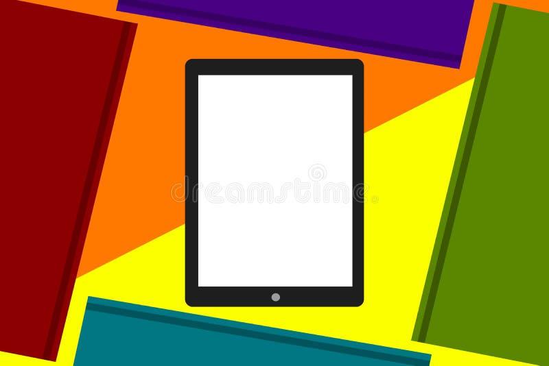 Een elektronisch boek met het witte die scherm door boeken wordt omringd vector illustratie