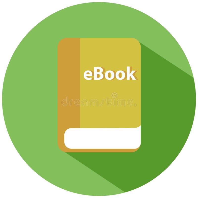 Een elektronische versie van een gedrukt boek in een groene cirkel Een gele die ebook op witte achtergrond wordt geïsoleerd Het p stock illustratie