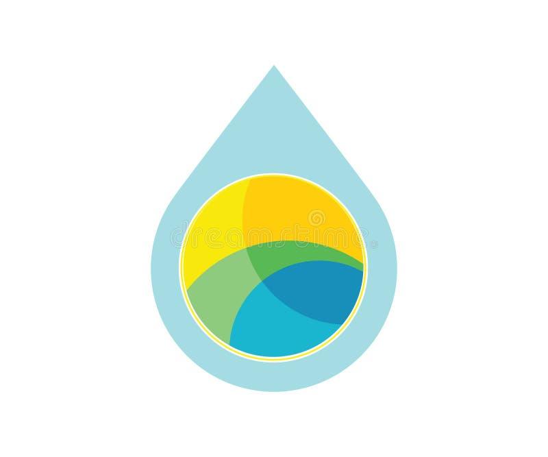 Een embleem van de waterdaling met abstracte landschapssymboliek daarin royalty-vrije illustratie